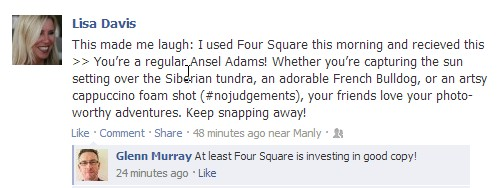 Four Square pays for its copywriting