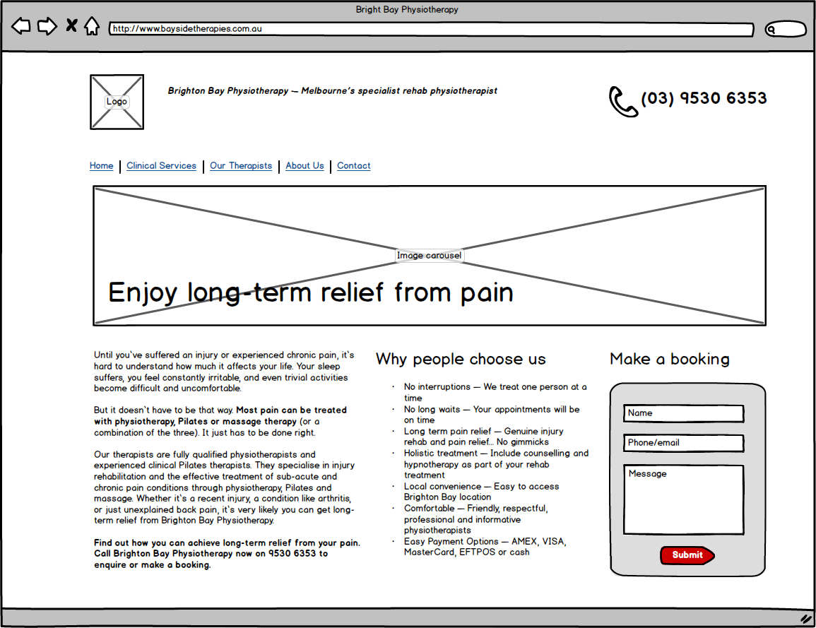 My copywriting proof of style in a wireframe