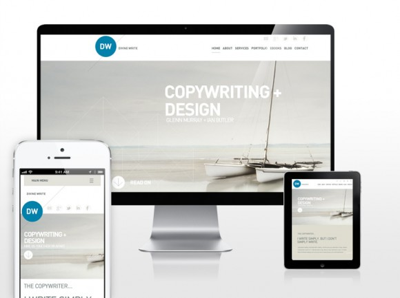 Images showing 3 devices with divinewrite copywriting website loaded