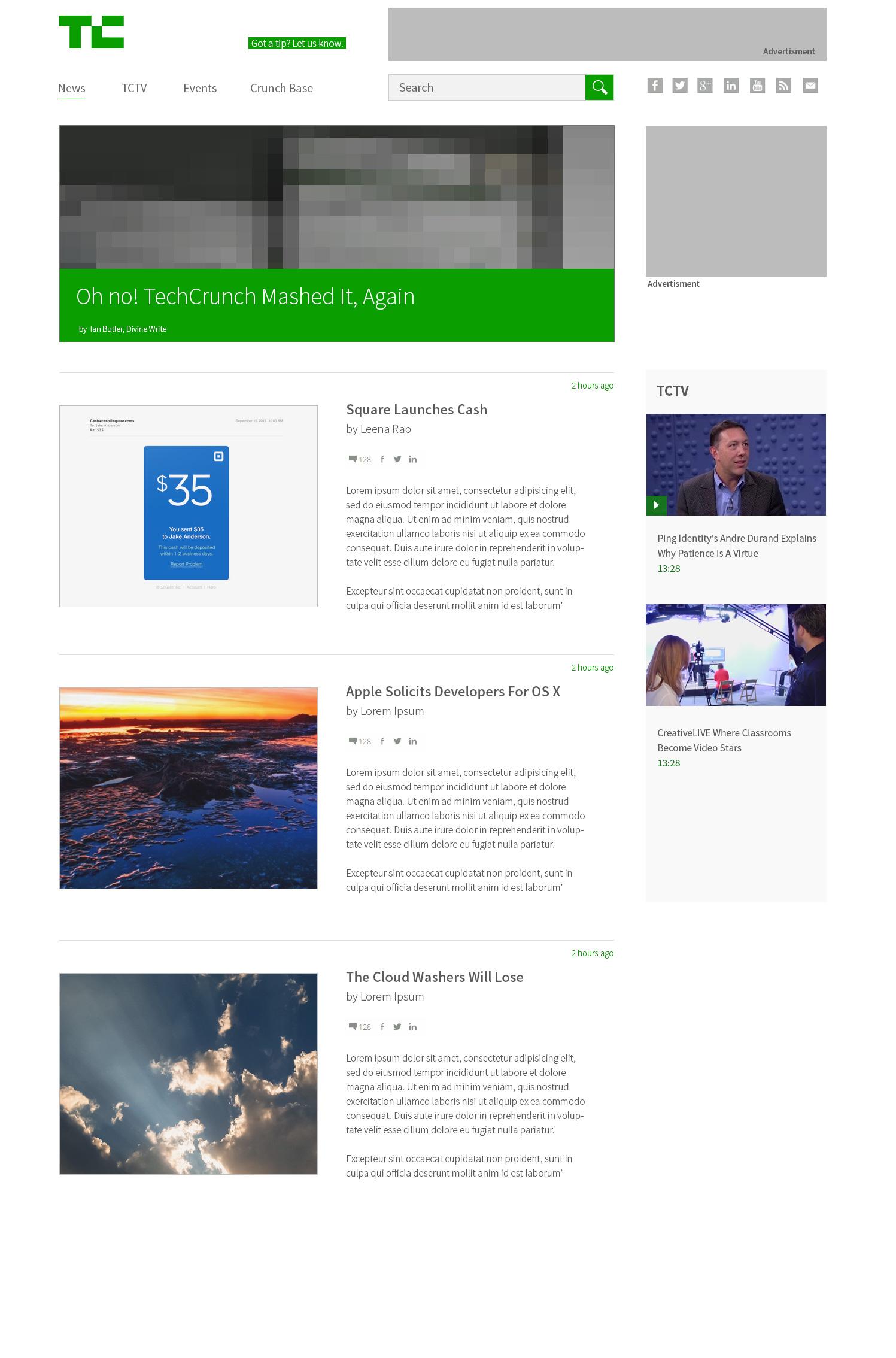 TechCrunch website re-designed in 55 minutes