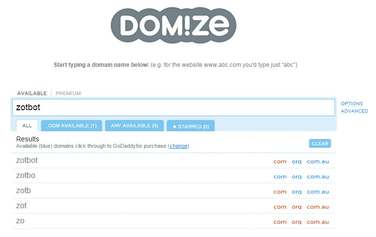 Domize domain name checker