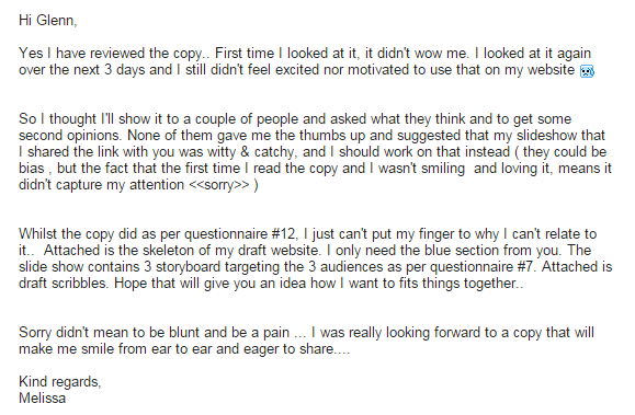 Client feedback on first draft of IT copywriting
