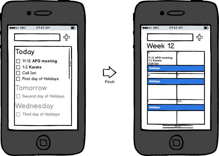 Mockup of my task calendar app