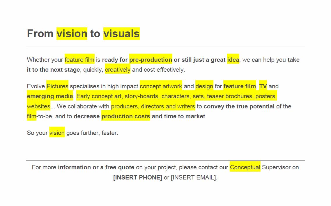 Concept art SEO copy elements
