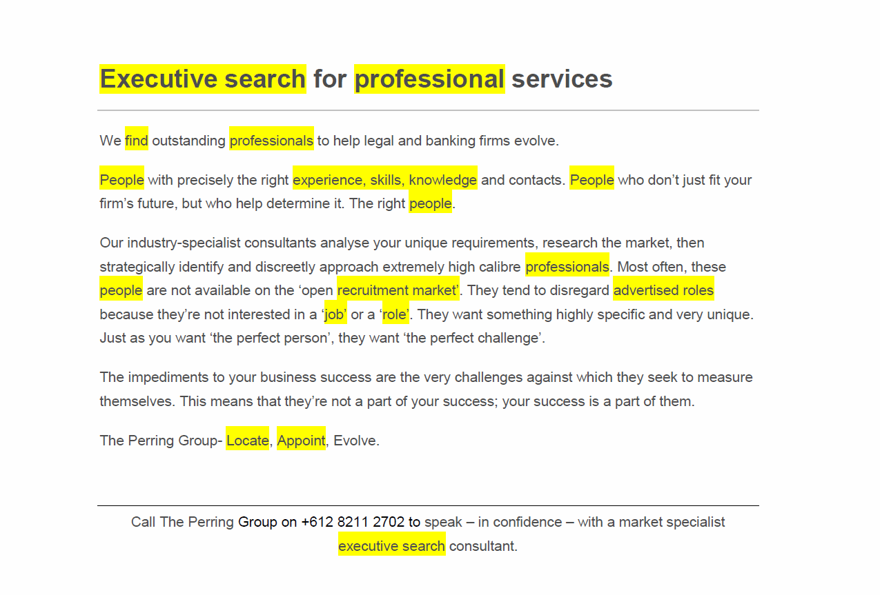 Executive search SEO copy elements