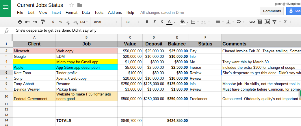 Screenshot of my copywriting jobs spreadsheet