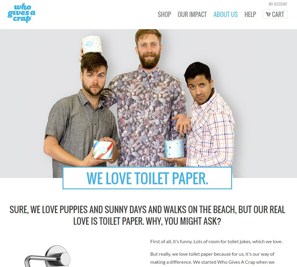 Who Gives a Crap About Us page copywriting sample