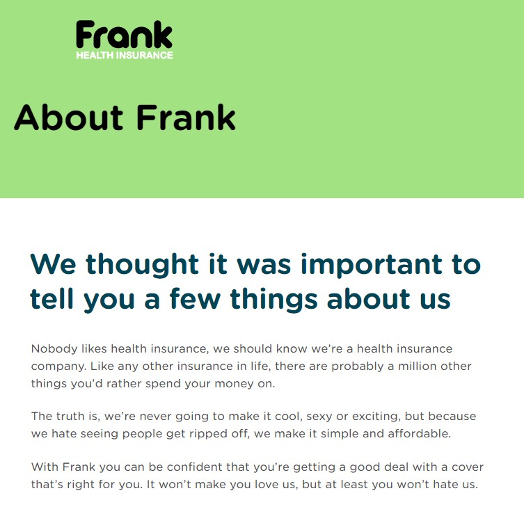 Frank About Us page copywriting sample