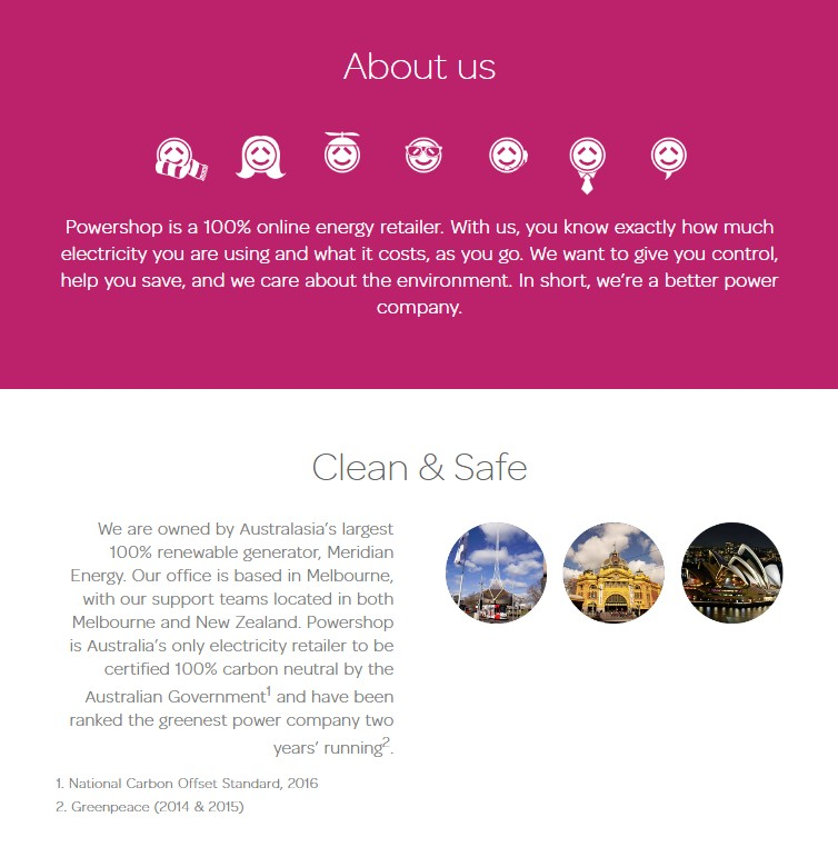Powershop About Us page copywriting sample