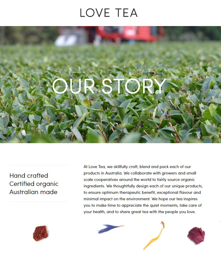 Love Tea About Us page copywriting sample