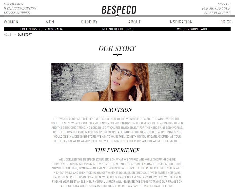 Bespecd About Us web copywriting sample
