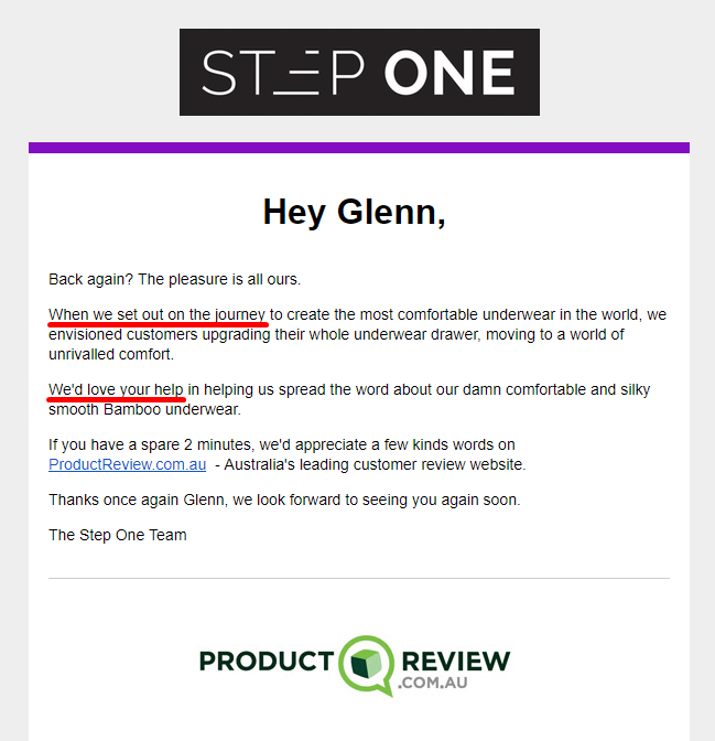 Product review request copy