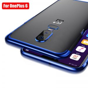 Generic TPU case with blue trim for OnePlus 6