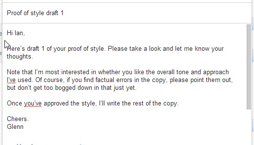 Image showing an email to a client introducing draft 1 of a copywriting proof of style